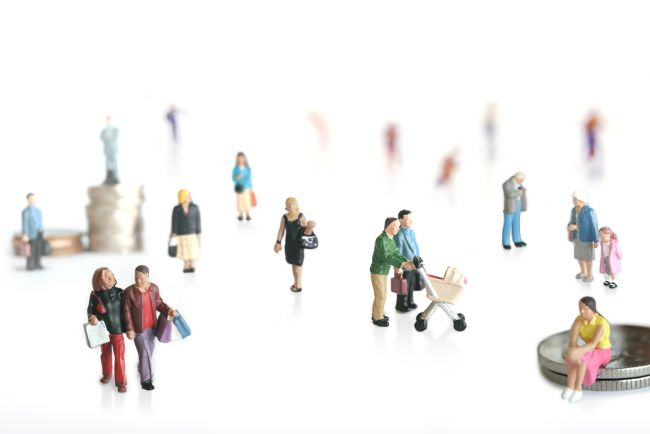 Small model figures walking around