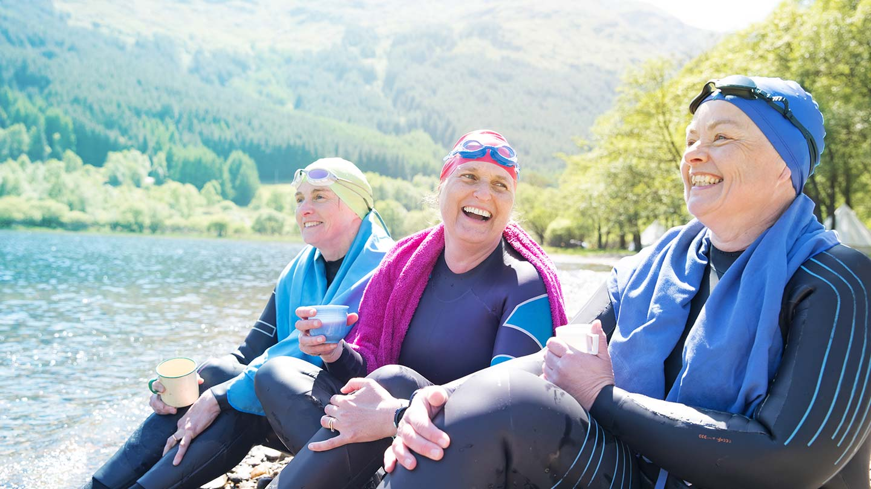 Three women finish their wild swim