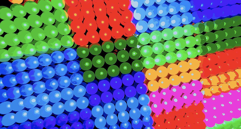 A range of multi-coloured dots