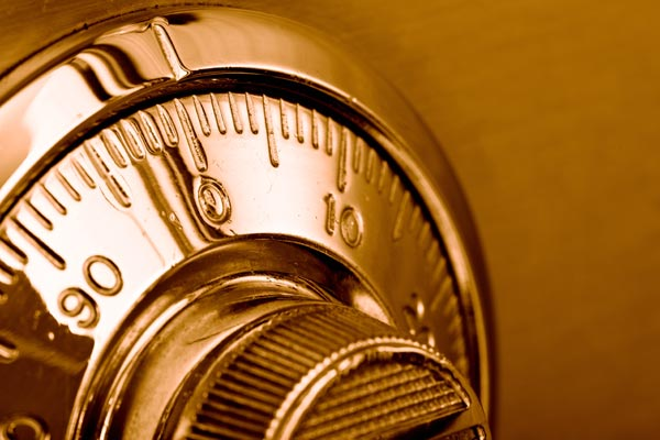 Image of gold combination lock