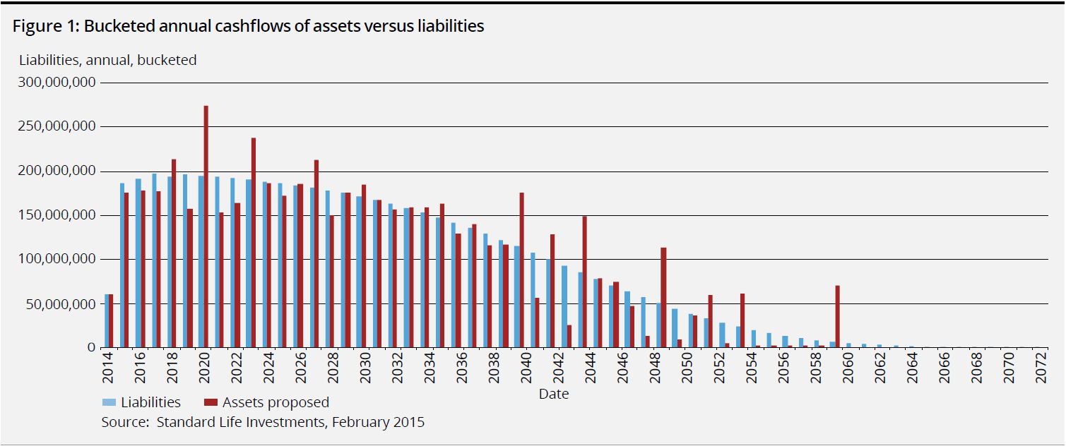 Bucketed annual cashflows of assets versus liabilities
